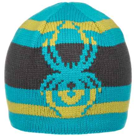Spyder Mission Beanie (For Big Boys) in Electric Blue/Polar/Sulfur - Closeouts