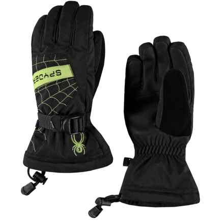 Spyder Overweb Ski Gloves - Waterproof, Insulated (For Boys) in Black/Fresh - Closeouts