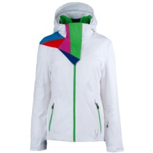 Spyder Power Ski Jacket - Waterproof, Insulated (For Women) in White/Classic Green - Closeouts