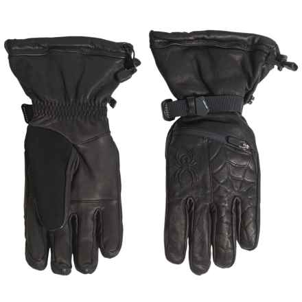 Spyder PrimaLoft® Ultraweb Leather Ski Gloves - Waterproof, Insulated (For Men) in Black - Closeouts