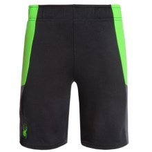 Spyder Side Stripe Mesh Knit Shorts (For Big Boys) in Black/Lime Green - Closeouts