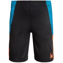 Spyder Side-Webbing Shorts (For Big Boys) in Blue/Bryte Orange/Black - Closeouts