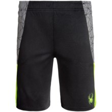 Spyder Side-Webbing Shorts (For Big Boys) in Bryte Yellow/Grey/Black - Closeouts
