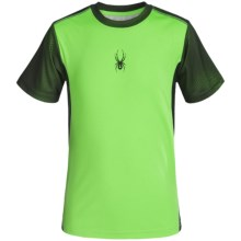 Spyder Small-Logo Mesh Shirt - Short Sleeve (For Big Boys) in Bryte Green - Closeouts
