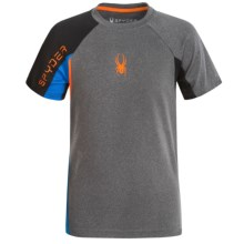 Spyder Small-Logo Mesh Shirt - Short Sleeve (For Big Boys) in Charcoal/Blue/Bryte Orange - Closeouts