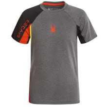 Spyder Small-Logo Mesh Shirt - Short Sleeve (For Big Boys) in Charcoal/Red/Yellow - Closeouts