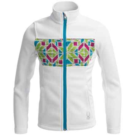 Spyder Soiree Core Sweater - Full Zip (For Big Girls) in White/Riviera/Multi Color - Closeouts