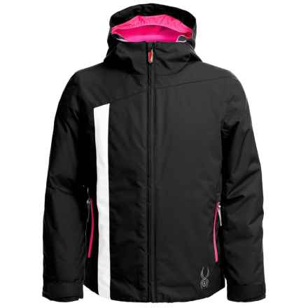 Spyder Sojourn Jacket - Waterproof, Breathable (For Big Girls) in Black/White/Bryte Bubblegum - Closeouts