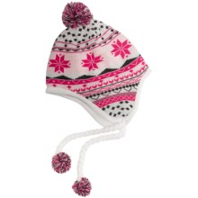 Spyder Superflake Ear Flap Hat - Fleece Lined (For Women) in White/Pout/Black - Closeouts