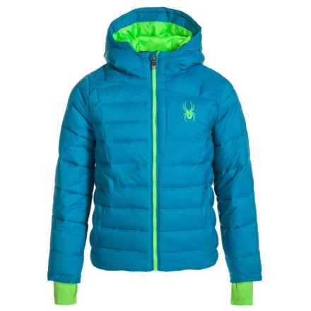 Spyder Upside Down Puffer Jacket - Insulated (For Big Kids) in Concept Blue/Bryte Green - Closeouts