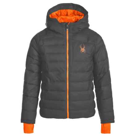 Spyder Upside Down Puffer Jacket - Insulated (For Big Kids) in Polar - Closeouts