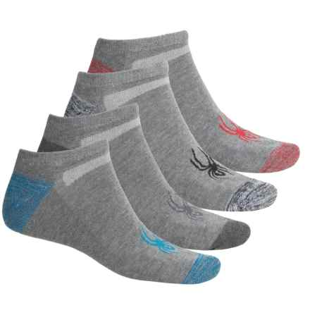 Spyder V-Mesh No-Show Socks - 4-Pack, Below the Ankle (For Men) in Light Grey - Closeouts
