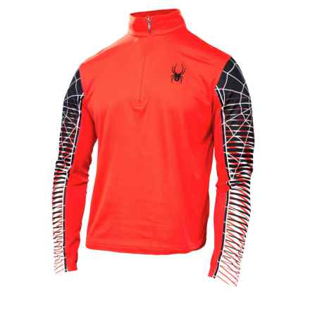 Spyder Webstrong DryWEB Shirt - Zip Neck, Long Sleeve (For Men) in Volcano/Black/White - Closeouts