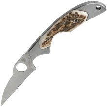 Spyderco Kiwi Folding Pocket Knife - Straight Edge, Stag Handle, Non-Locking in See Photo - Closeouts