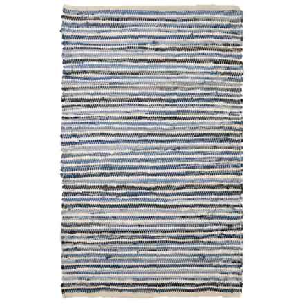 """Square One Handwoven Chindi Accent Rug - 3'6""""x5'6"""" in Denim Blue/White - Closeouts"""
