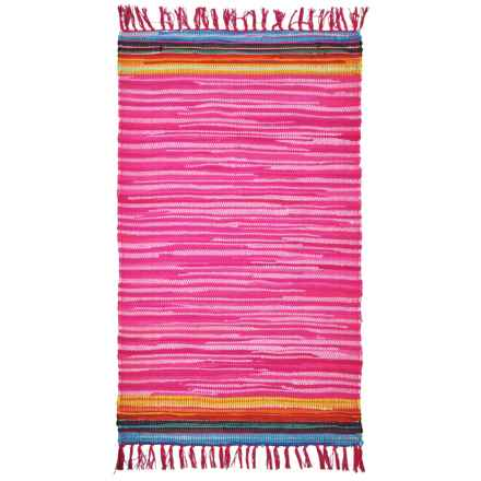 "Square One Handwoven Chindi Accent Rug - 3'6""x5'6"" in Pink - Closeouts"