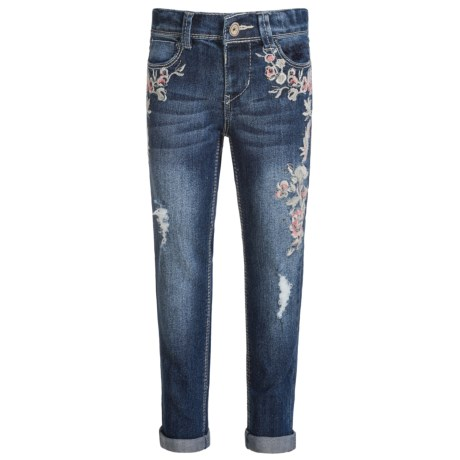 Squeeze Floral Embroidered Jeans - Skinny Leg (For Little Girls) in Aranda Wash