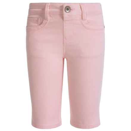 Squeeze Sateen Bermuda Shorts - 5-Pocket (For Big Girls) in Ice Pink - Closeouts