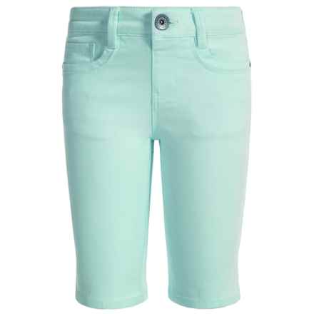 Squeeze Sateen Bermuda Shorts - 5-Pocket (For Little Girls) in Powder Mint - Closeouts