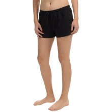 St. Eve Drawstring Boxer Shorts - Stretch Cotton (For Women) in Black - Closeouts