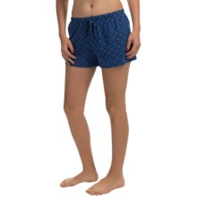 St. Eve Drawstring Boxer Shorts - Stretch Cotton (For Women) in Dark Blue Print - Closeouts