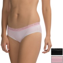 St. Eve Hipster Panties - 3-Pack, Stretch Cotton (For Women) in Pink Mist Stripe - Closeouts