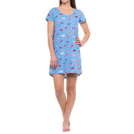 St Eve Pocket Sleep Shirt - Short Sleeve (For Women) in Periwinkle Blue - Closeouts