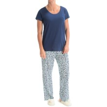 St. Eve Printed Pajamas - Short Sleeve (For Women) in Blue/Cheetah - Closeouts