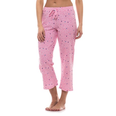 St Eve Stretch Cotton Drawstring Lounge Capris (For Women) in Pink Hearts
