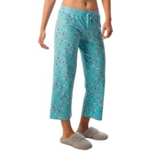 St. Eve Stretch Cotton Drawstring Lounge Capris (For Women) in Turquoise Print - Closeouts