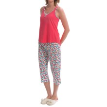 St. Eve Tank Top and Capris Pajamas - Sleeveless (For Women) in Rdflp Cherry Red Floral - Closeouts