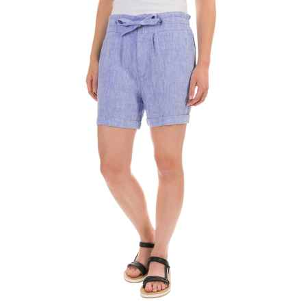 St. Tropez Linen Shorts - Drawstring Waist (For Women) in French Blue Cross Dye - Closeouts