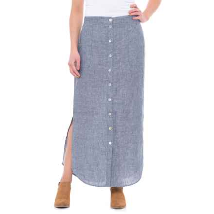 St. Tropez West Button-Front Linen Maxi Skirt (For Women) in Indigo - Closeouts