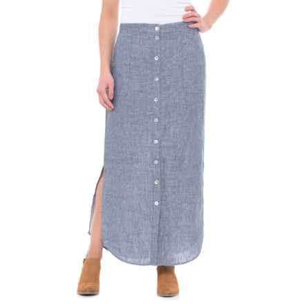 St. Tropez West Button-Front Linen Maxi Skirt (For Women) in Indigo - Closeouts