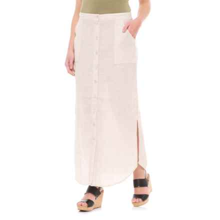 St. Tropez West Button-Front Linen Maxi Skirt (For Women) in Light Tan - Closeouts