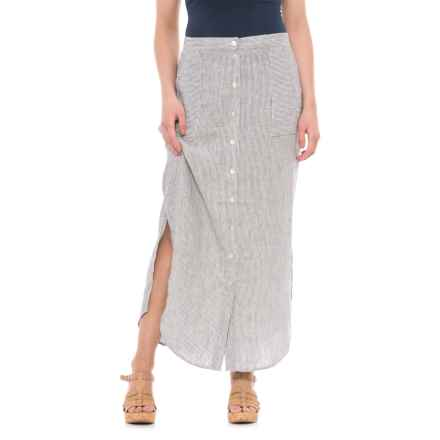 St. Tropez West Button-Front Striped Linen Maxi Skirt (For Women) in Indigo/White Stripe - Closeouts