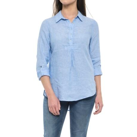 St. Tropez West Cross-Dye Popover Linen Shirt - Long Sleeve (For Women) in Sky High