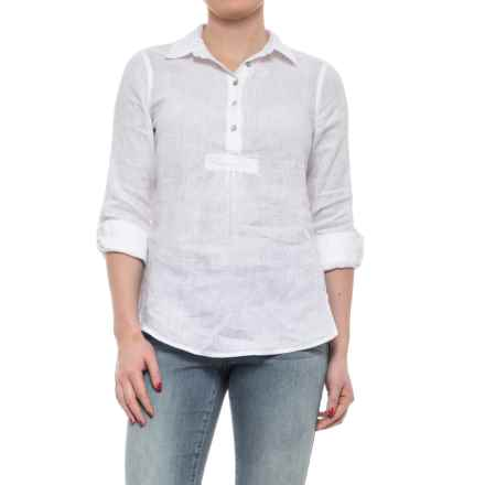 St. Tropez West Cross-Dye Popover Linen Shirt - Long Sleeve (For Women) in White - Closeouts