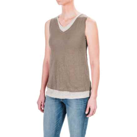 St. Tropez West Double-Layered Tank Top (For Women) in Leafy Green/Salt - Closeouts