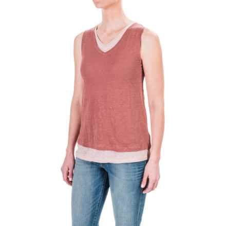 St. Tropez West Double-Layered Tank Top (For Women) in Rouge/Grey Shimmer - Closeouts