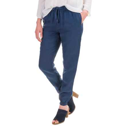 St. Tropez West Drawstring Pants - Linen (For Women) in New Navy - Closeouts
