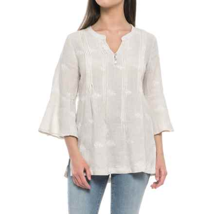 St. Tropez West Embroidered Tunic Shirt - Linen, 3/4 Sleeve (For Women) in Khaki Engine Stripe - Closeouts