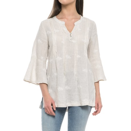 St. Tropez West Embroidered Tunic Shirt - Linen, 3/4 Sleeve (For Women) in Khaki Engine Stripe