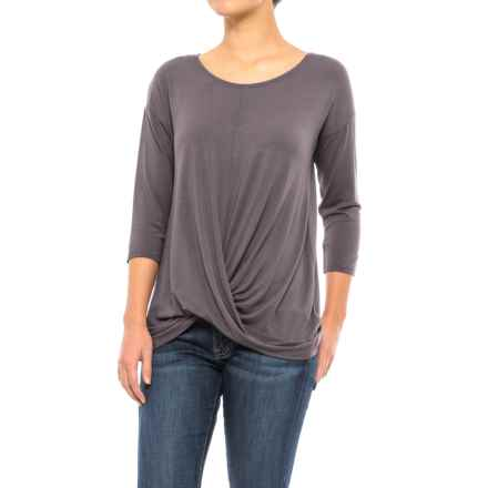 St. Tropez West Front-Knot Shirt - 3/4 Sleeve (For Women) in Volcanic - Closeouts