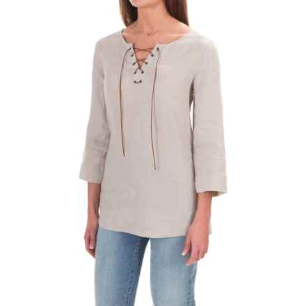 St. Tropez West Linen Lace-Up Shirt - 3/4 Sleeve (For Women) in Soft Khaki - Overstock