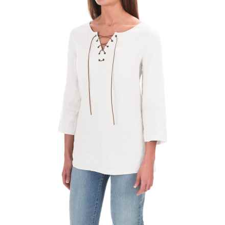 St. Tropez West Linen Lace-Up Shirt - 3/4 Sleeve (For Women) in White Sails - Overstock
