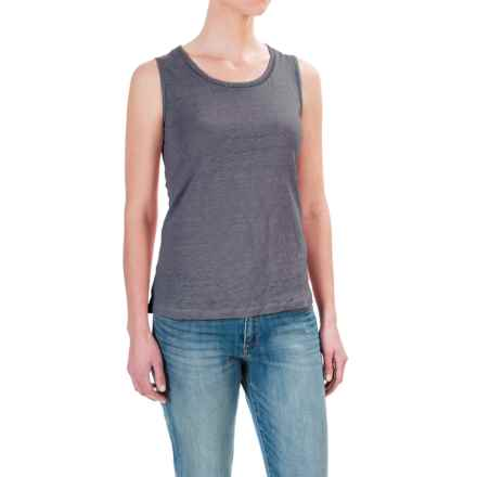 St. Tropez West Linen Tank Top - Scoop Neck (For Women) in Dusted Slate - Closeouts
