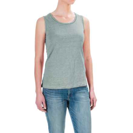 St. Tropez West Linen Tank Top - Scoop Neck (For Women) in Sea Shimmer - Closeouts