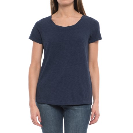 St. Tropez West Modern Slub Twist Shirt - Crew Neck, Short Sleeve (For Women) in Navy
