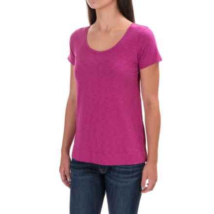 St. Tropez West New Slub T-Shirt - Cotton-Modal, Short Sleeve (For Women) in Party Fuchsia - Closeouts